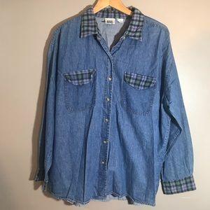 Vintage Jean Plaid Button Up Shirt